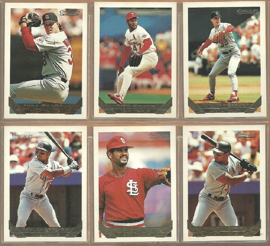 1993 Topps Gold Insert St Louis Cardinals Team Lot Lee Smith Todd Worrell Bob Tewksbury Jose Oquendo