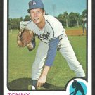 Los Angeles Dodgers Tommy John 1973 Topps Baseball Card 258 nr mt