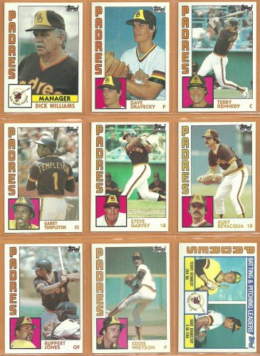 1984 Topps San Diego Padres Team Lot 24 Steve Garvey Garry Templeton Dick Williams Dave Dravecky