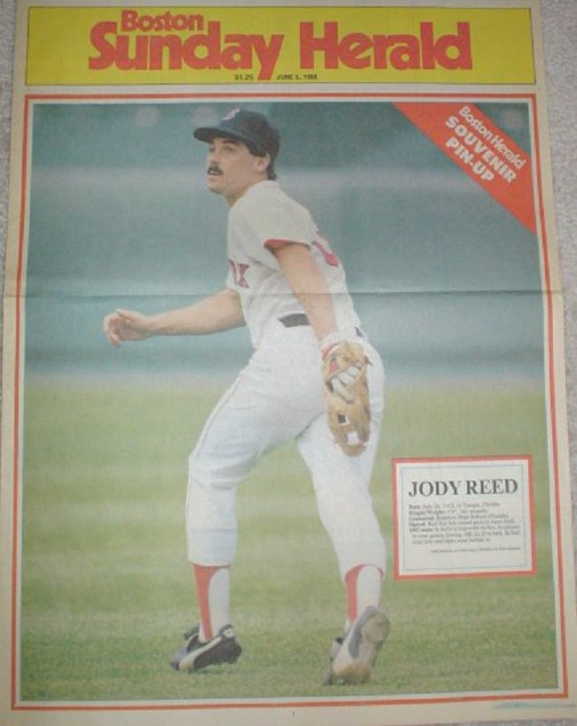 1988 Boston Red Sox Jody Reed Large Colorful Newspaper Poster