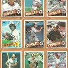 1985 Topps Baltimore Orioles Team Lot Cal Ripken Eddie Murray Al Bumbry Rick Dempsey Ken Singleton