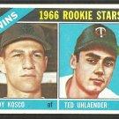 Minnesota Twins Rookie Stars Andy Kosko Ted Uhlaender 1966 Topps Baseball Card 264 vg