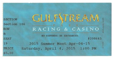 2015 Miami Florida Gulfstream Park Race Course Grandstand Ticket Horse Racing