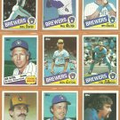 1985 Topps Milwaukee Brewers Team Lot 27 diff Paul Molitor Don Sutton Rollie Fingers Cecil Cooper