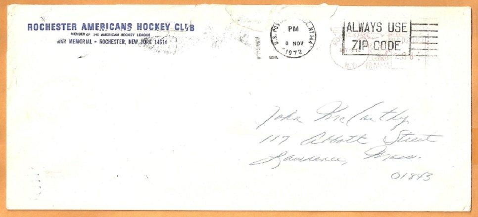 AHL Rochester Americans Amerks 1972 Logo Envelope The War Memorial New York American Hockey League