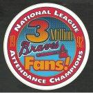 Atlanta Braves 1992 3 Million Fans Window Decal National League Attendance Champions