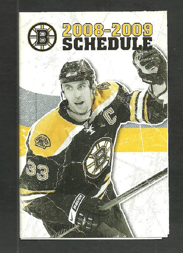 Boston Bruins 2008 2009 Pocket Schedule Zdeno Chara Comcast