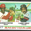 RBI Leaders Cincinnati Reds George Foster Minnesota Twins Larry Hisle 1978 Topps Baseball Card 203