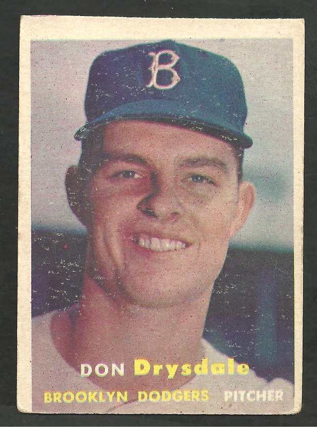 Brooklyn Dodgers Don Drysdale RC Rookie Card 1957 Topps Baseball Card 18 good