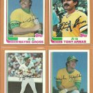 1982 Topps Oakland Athletics Team Lot 22 diff Tony Armas Mike Heath Wayne Gross Jeff Newman