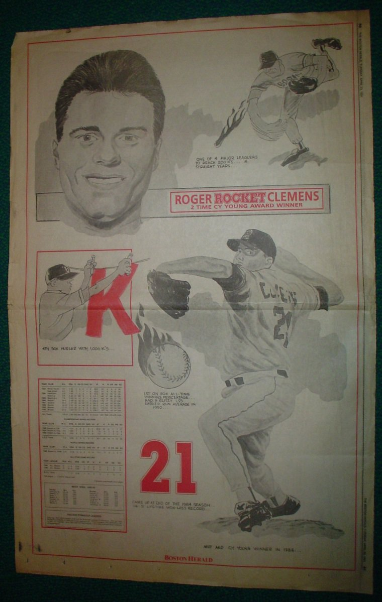 Boston Red Sox Roger Clemens 1991 Newspaper Poster