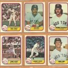 1981 Fleer Boston Red Sox Team Lot 17 Jim Rice Fred Lynn Tony Perez Dennis Eckersley Dwight Evans