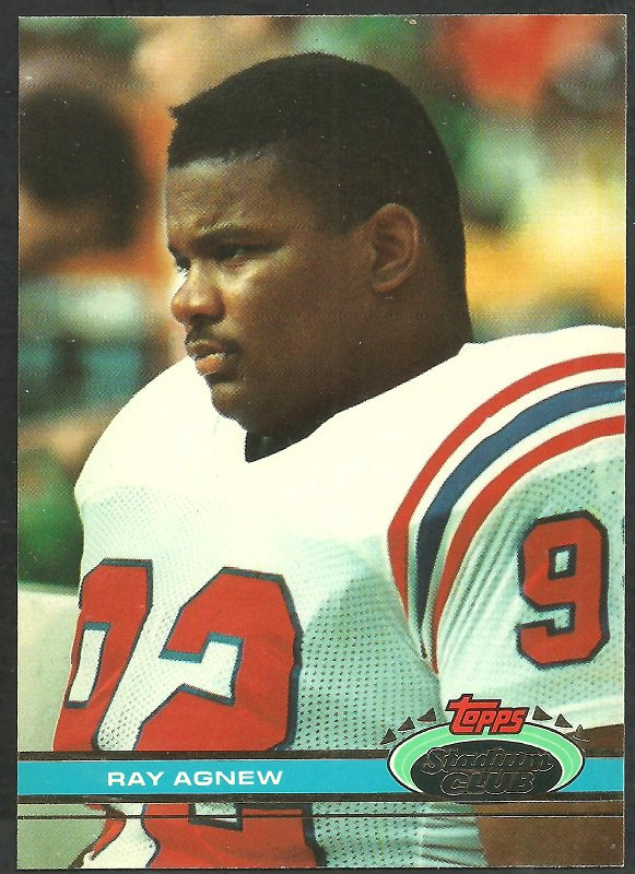 New England Patriots Ray Agnew 1991 Topps Stadium Club Football Card 408
