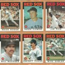 1986 Topps Boston Red Sox Team Lot 31 Wade Boggs Roger Clemens Jim Rice Dwight Evans Bill Buckner
