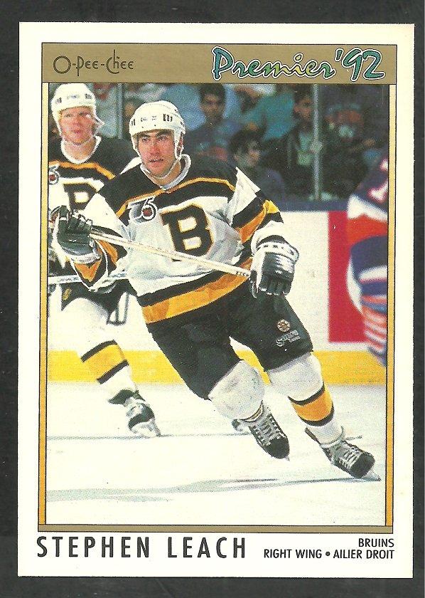 Boston Bruins Stephen Leach 1991 OPC Premier Hockey Card O Pee Chee 12