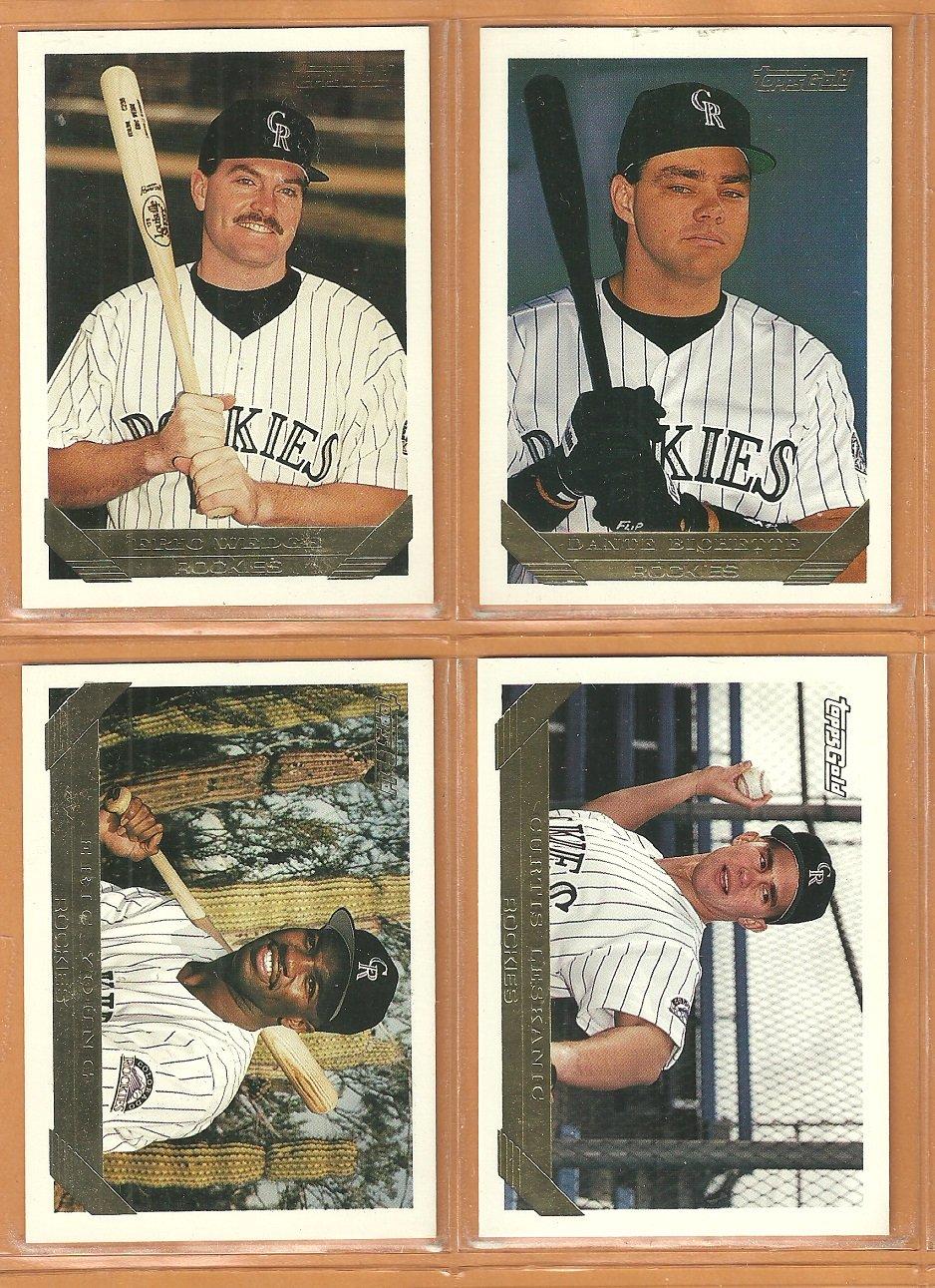 1993 Topps Gold Insert Colorado Rockies Team Lot Dante Bichette Jerald Clark Eric Wedge Rudy Seanez