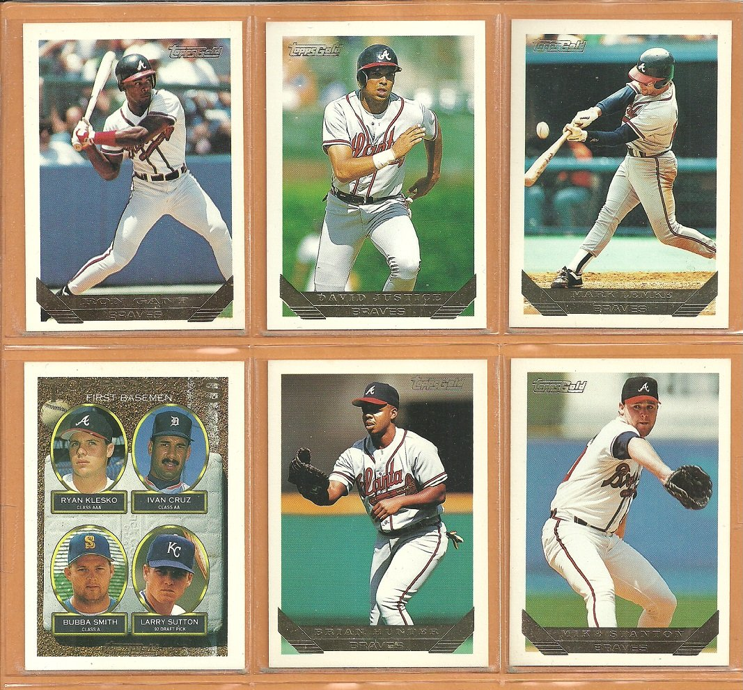 1993 Topps Gold Insert Atlanta Braves Team Lot 13 David Justice Ron Gant Ryan Klesko RC Bobby Cox