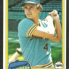 Seattle Mariners Jim Anderson 1981 Topps Baseball Card 613 nr mt