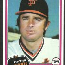 San Francisco Giants Randy Moffitt 1981 Topps Baseball Card 622 nr mt