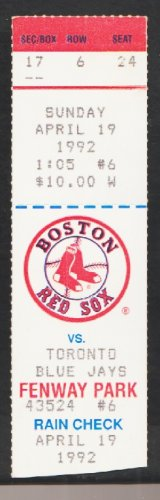 Toronto Blue Jays Boston Red Sox 1992 Ticket Wade Boggs Roberto Alomar Dave Winfield