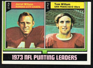Punting Leaders Kansas City Chiefs San Francisco 49ers 1974 Topps Football Card 333 ex/em