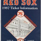 Boston Red Sox 1987 Ticket Information Brochure Roger Clemens Bill Buckner Logo Envelope