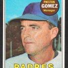 San Diego Padres Preston Gomez 1969 Topps Baseball Card 74 vg/ex
