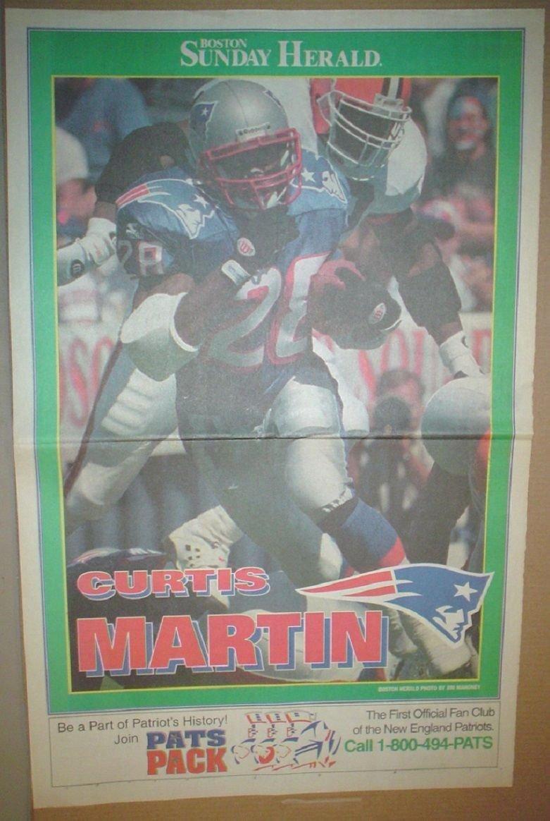 New England Patriots Curtis Martin 1995 Boston Herald Poster