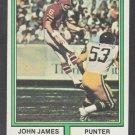Atlanta Falcons John James 1974 Topps Football Card 348 ex/em
