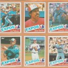 1985 Topps Montreal Expos Team Lot 12 Andre Dawson Terry Francona Tim Wallach