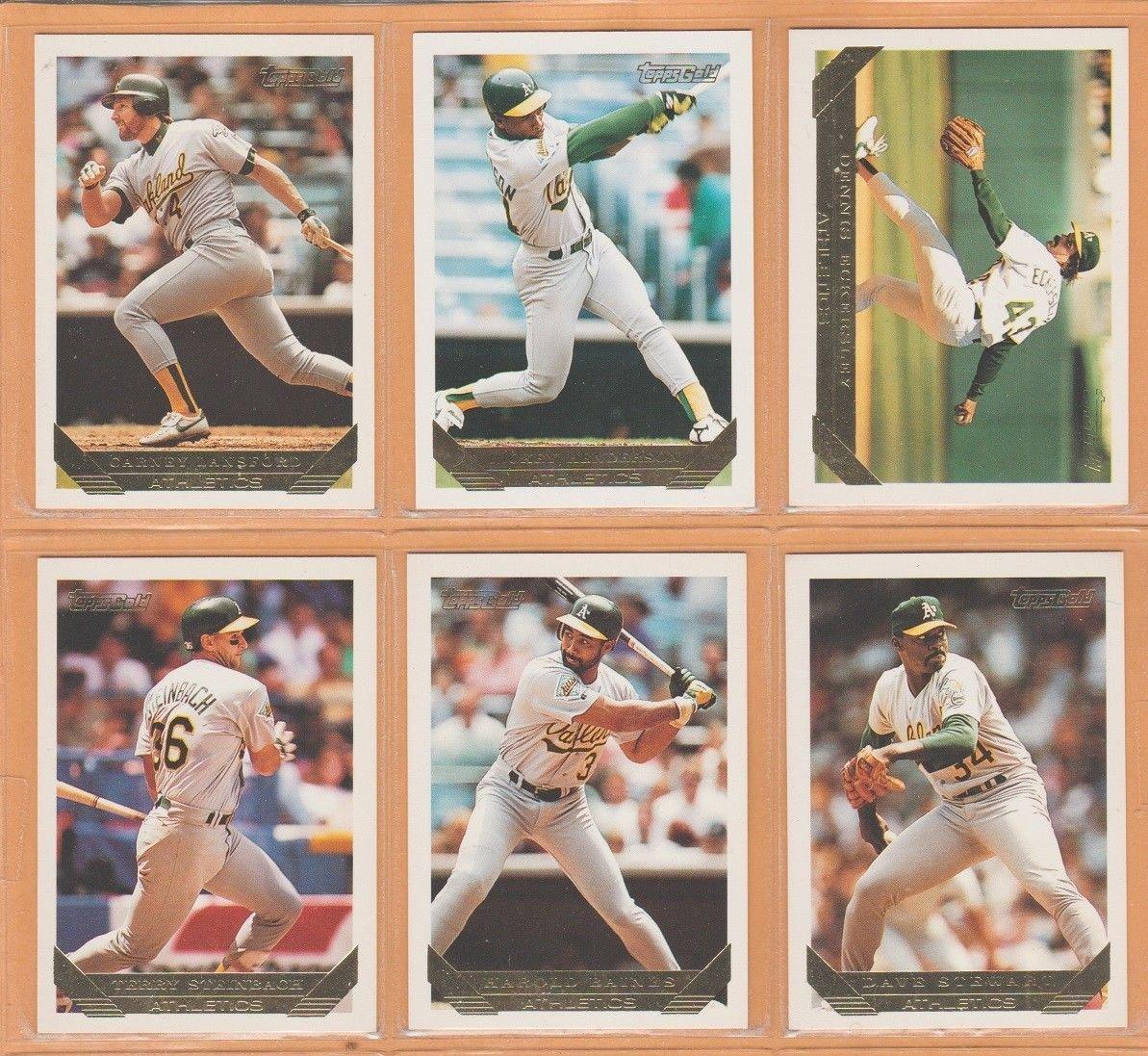 1993 Topps Gold Insert Oakland Athletics Team Lot 25 Rickey Henderson Dennis Eckersley Harold Baines