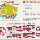 Boston Red Sox 1987 Schedule and Fenway Park Seating Plan 8x10