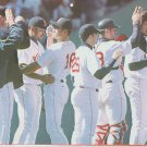 Boston Red Sox Celebrate a Win 2002 Pinup Photo 8x10 with Johnny Damon