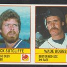 Boston Red Sox Wade Boggs Chicago Cubs Rick Sutcliffe 1986 Dormans Cheese Panel