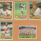 1976 Topps St Louis Cardinals Team Lot 17 diff Lou Brock Reggie Smith Mike Tyson John Denny