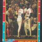 New York Mets Ray Knight Darryl Strawberry 1987 Fleer 1986 World Series Game 7 Baseball Card # 11 nm