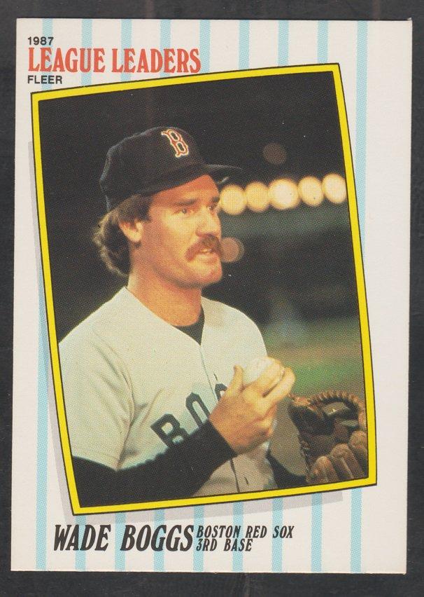 Boston Red Sox Wade Boggs 1987 Fleer League Leaders Baseball Card # 3 nr mt