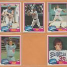 1981 Topps Los Angeles Dodgers Team Lot 14 Ron Cey Rick Sutcliffe Bob Welch Steve Howe RC