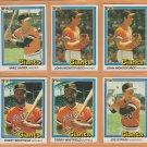 1981 - 1984 Donruss San Francisco Giants Team Lot 19 John Montefusco Reggie Smith Jeff Leonard
