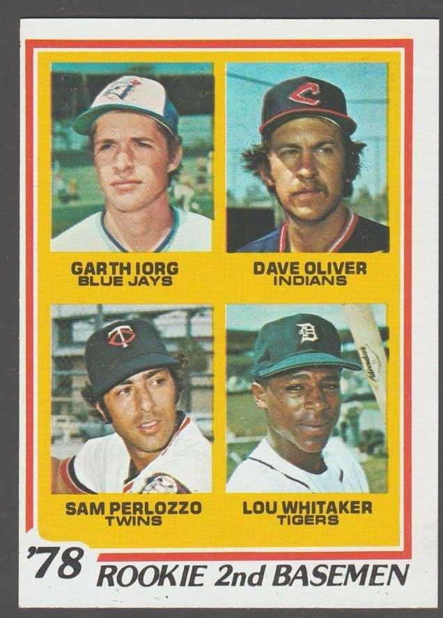 Detroit Tigers Lou Whitaker Rookie Card RC 1978 Topps 703 Cleveland Indians Toronto Blue Jays Twins