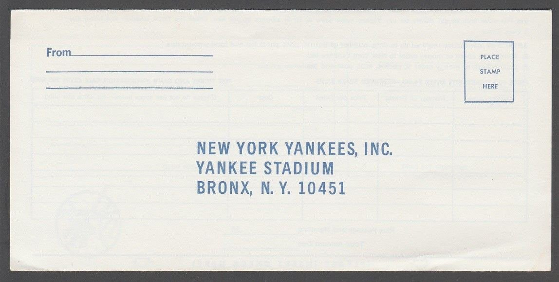 1972 New York Yankees Yankee Stadium Ticket Order Envelope