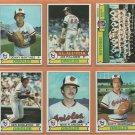 1979 Topps Baltimore Orioles Team Lot 11 Jim Palmer Mike Flanagan Ken Singleton Denny Martinez