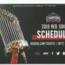 2019 Boston Red Sox Pocket Schedule 2nd Edition Dunkin Donuts