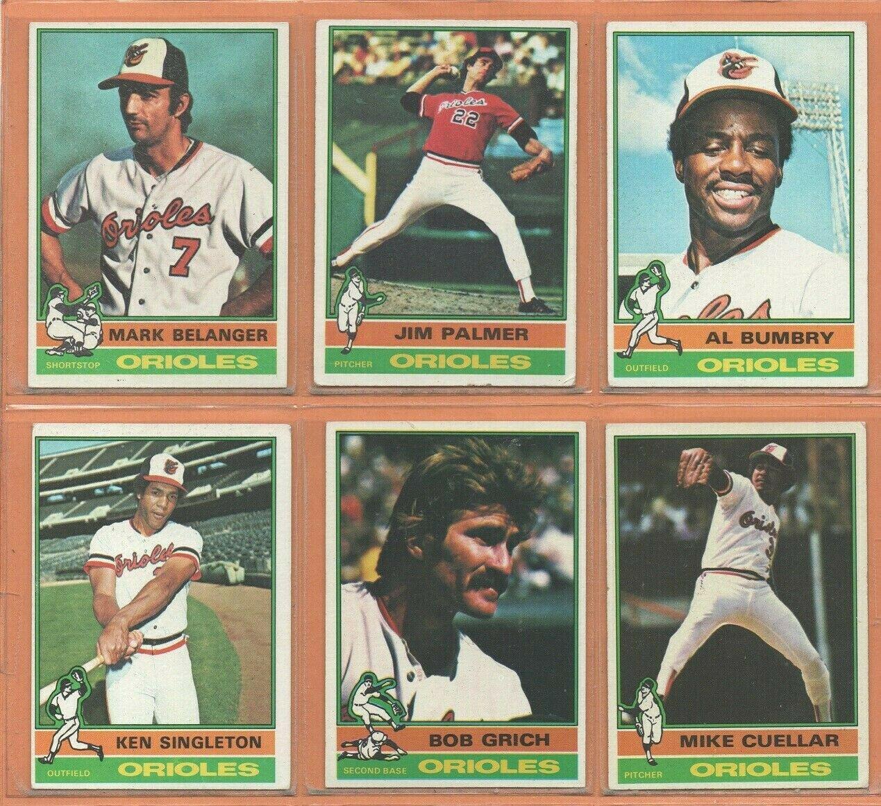 1976 Topps Baltimore Orioles Team Lot 18 Jim Palmer Mark Belanger Ellie Hendricks Paul Blair +