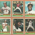1976 Topps Baltimore Orioles Team Lot 18 Jim Palmer Mark Belanger Ellie Hendricks Paul Blair +
