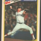 Boston Red Sox Calvin Schiraldi World Series Game 1 1987 Topps Baseball Highlights Card 20