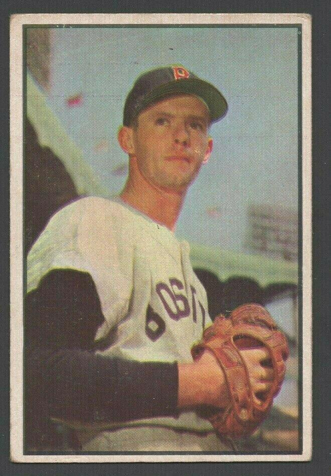 Boston Red Sox Maury McDermott 1953 Bowman Color Baseball Card 35 vg+