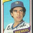 Milwaukee Brewers Bill Castro 1980 Topps Baseball Card 303 nr mt