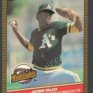 Oakland Athletics Jose Rio 1986 Donruss Highlights 2 Milestone for Strikeouts nm