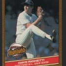 New York Yankees Dave Righetti 1986 Donruss Highlights 52 Shatters M.L. Save Mark nm